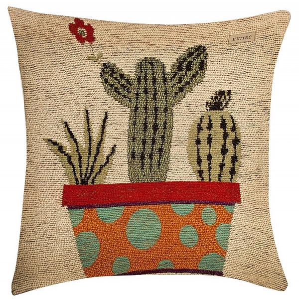 Funda de almohadón cactus natural
