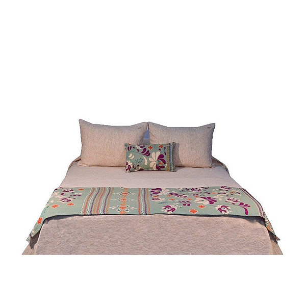 Pie de cama Folk turquesa