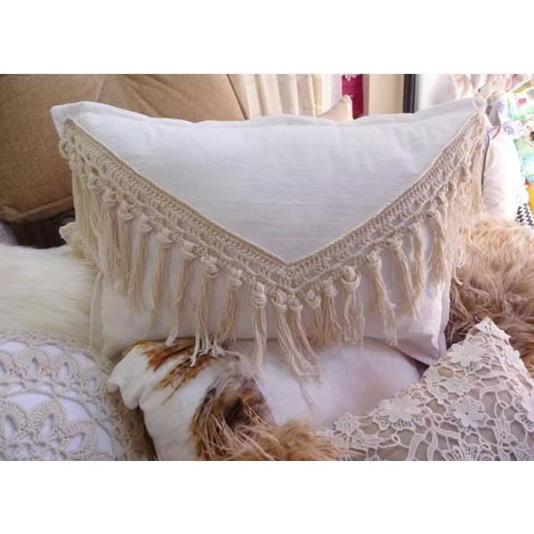 Almohadon tejido flecos