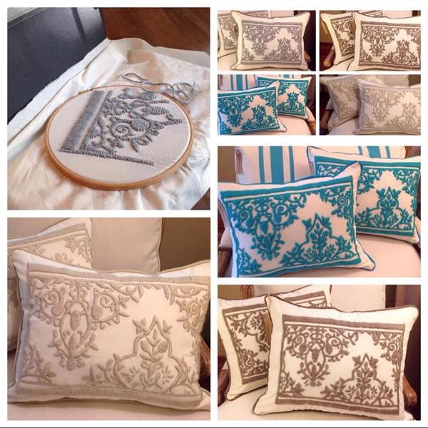 Almohadón bordado varios colores